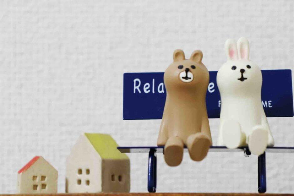熊とウサギ粘土細工