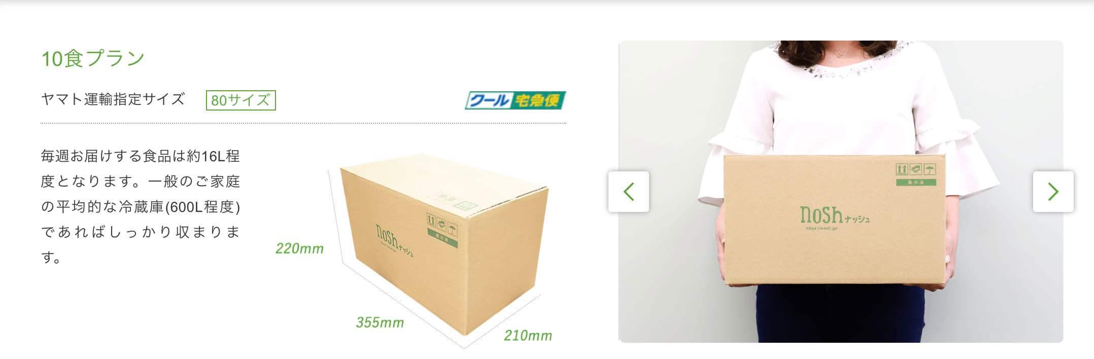 nosh10食プラン梱包サイズ